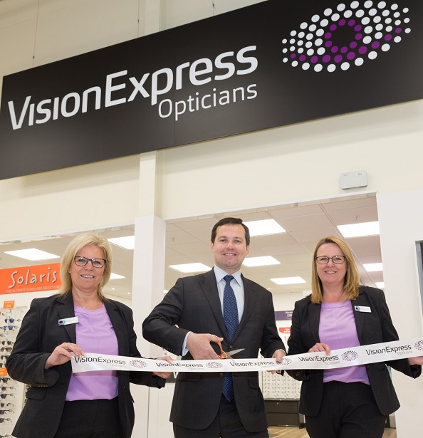 Horwich MP Chris Green celebrates the opening of new Vision Express