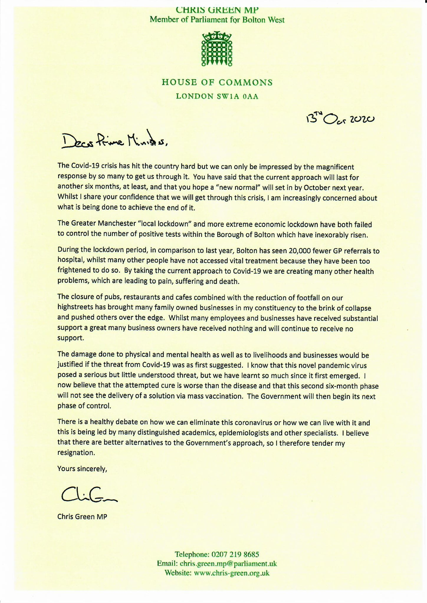 MP Chris Green resigns as Parliamentary Private Secretary