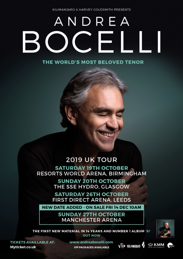Andrea Bocelli adds Manchester Arena to his 2019