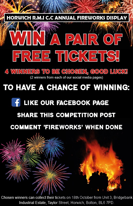 Win tickets to Horwich RMI Fireworks
