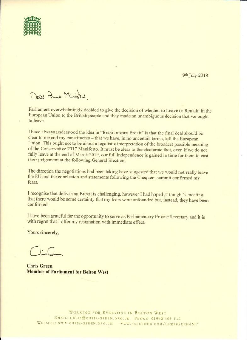 MP leaves his Government position over Brexit