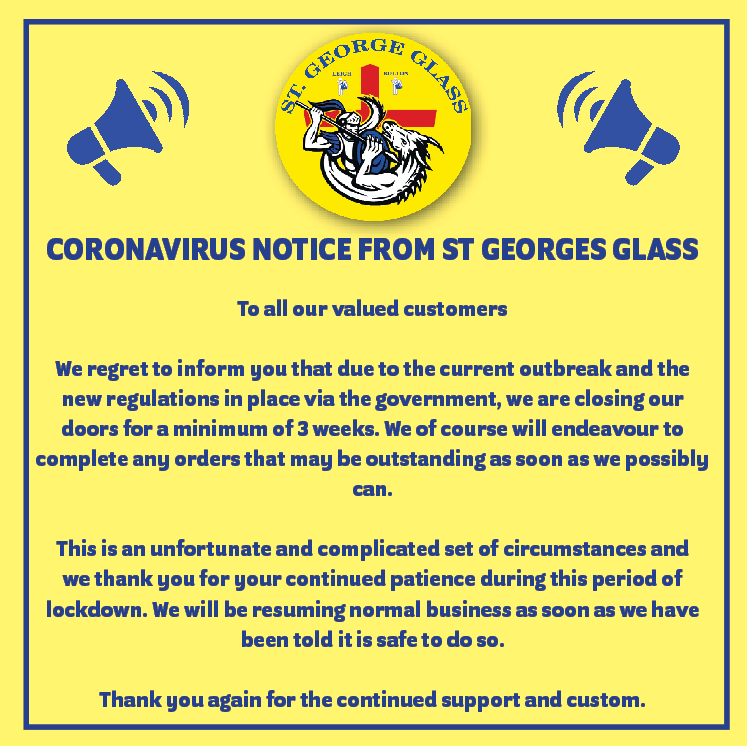 Notice from St George Glass