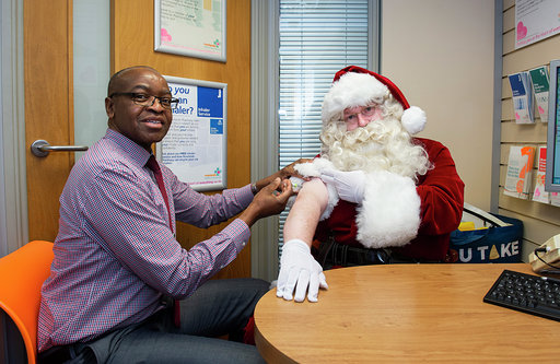 Santa urges over 65s to get their jab done before peak of flu season