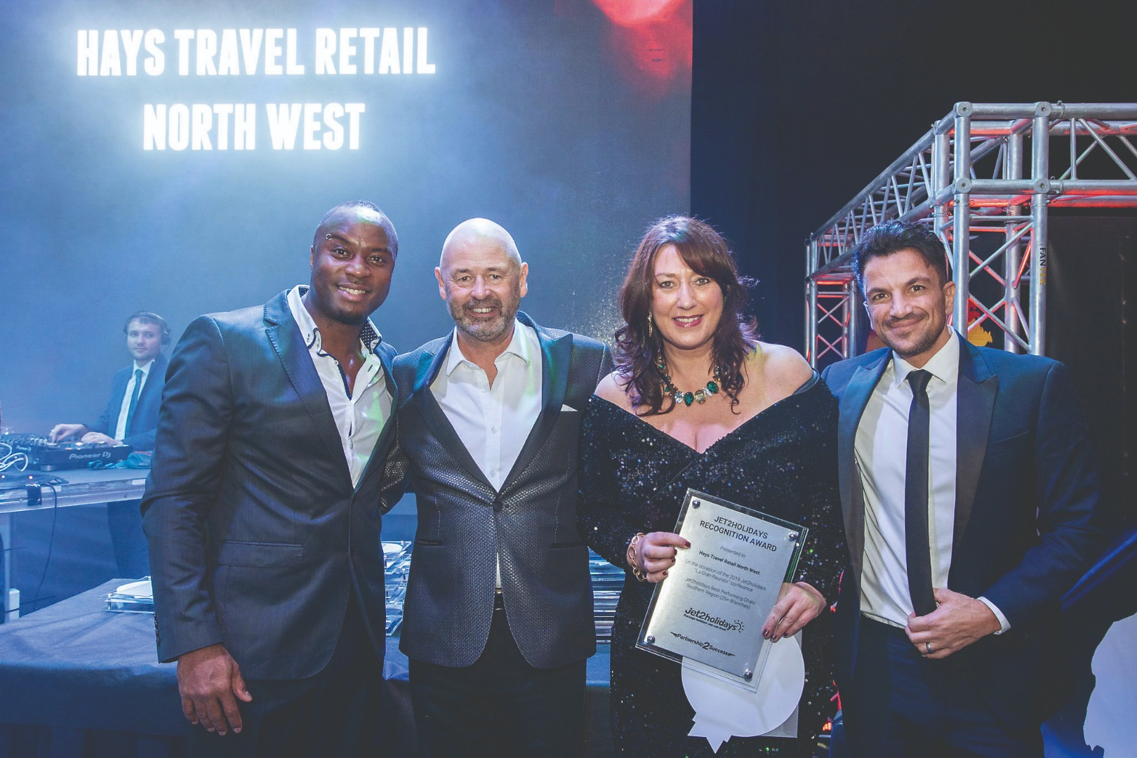 Horwich travel bosses party with Peter Andre